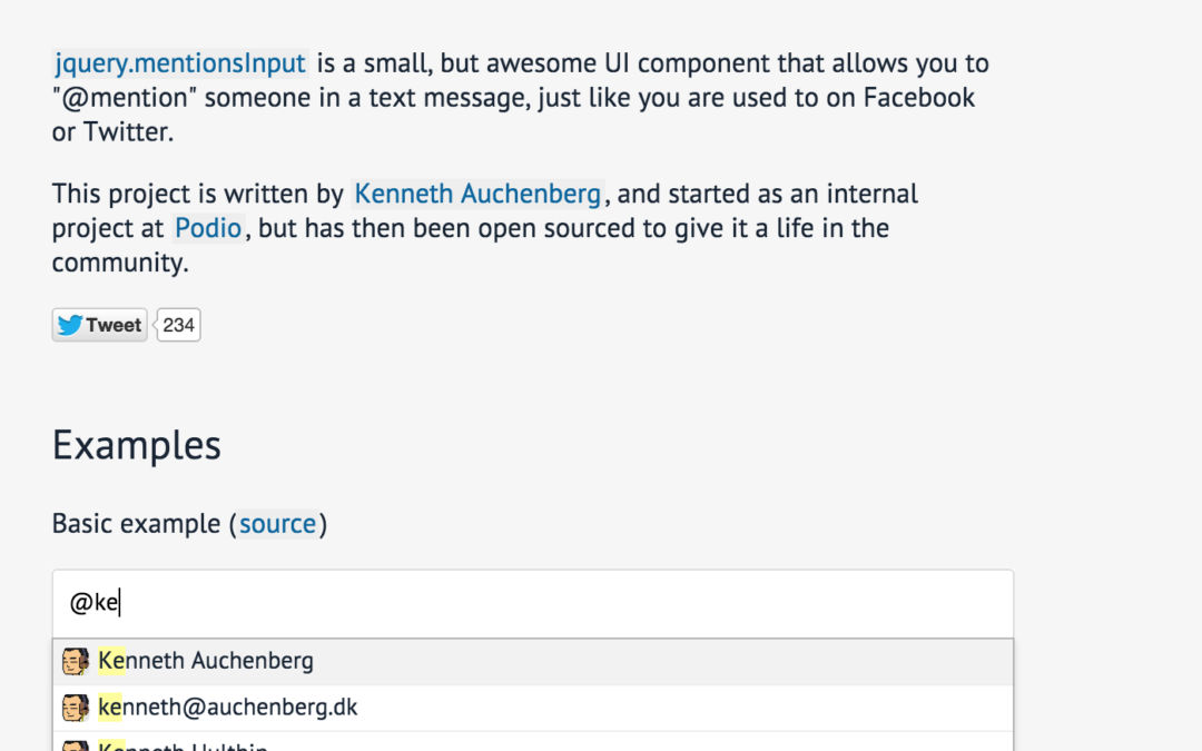 jquery.mentionsInput — уведомление пользователей через @