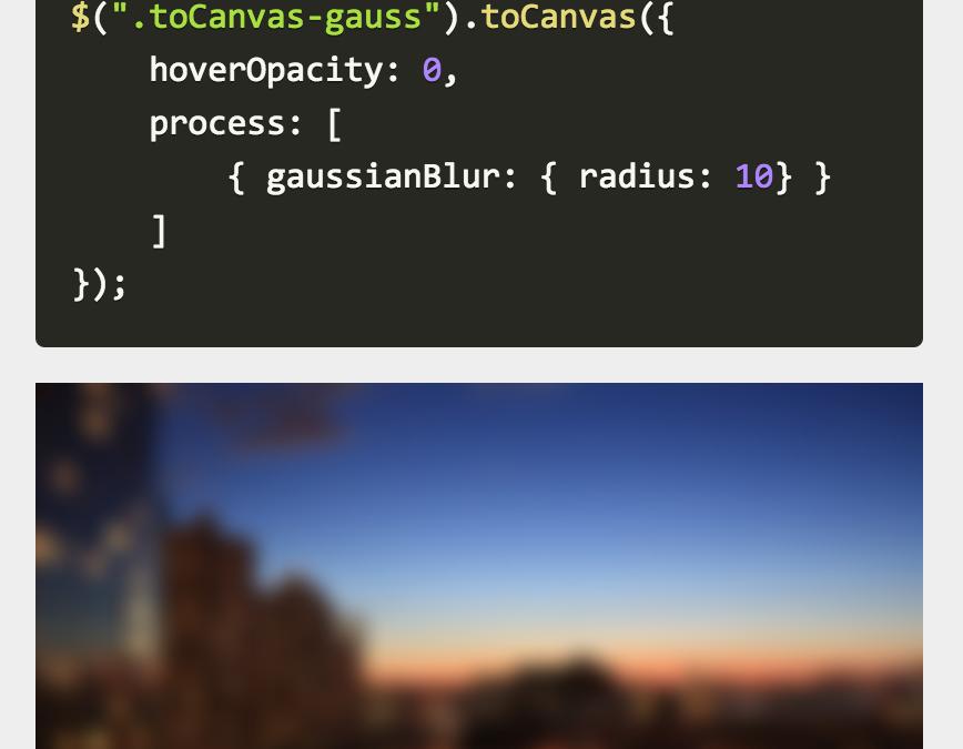 jQuery toCanvas — спецэффекты для изображений (градации серого, блюр)