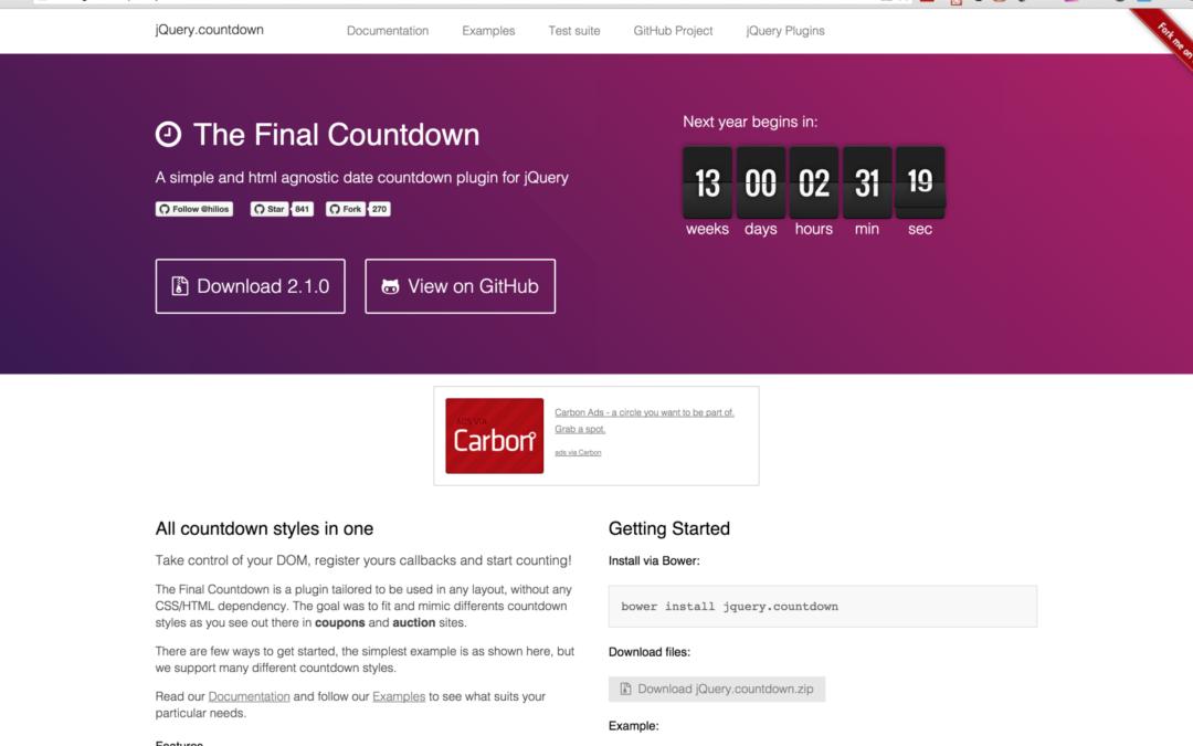 jQuery.countdown — таймер обратного отсчета
