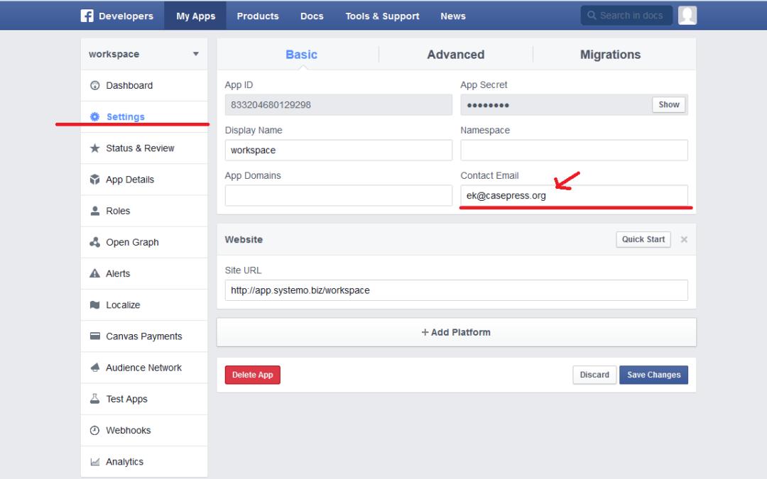 Ошибка авторизации на сайте через Facebook