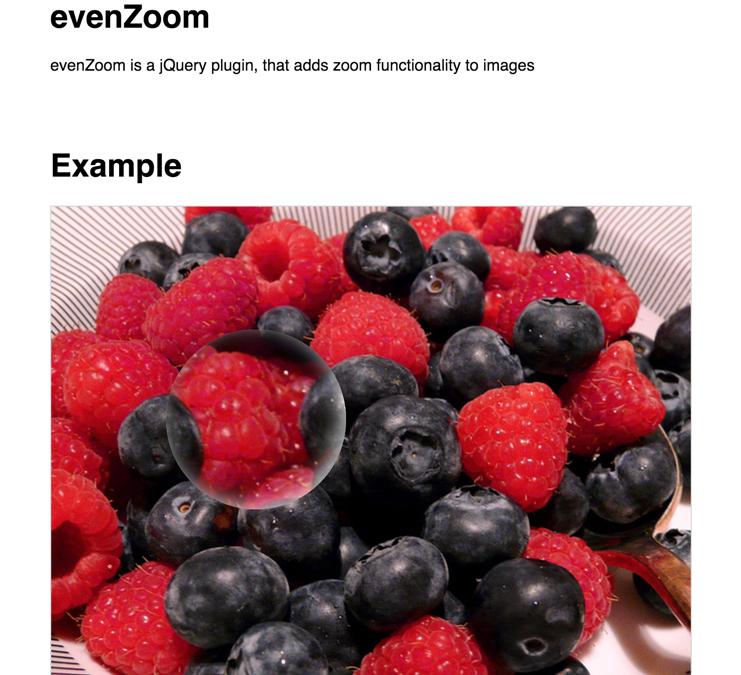 evenZoom — эффект лупы (зума) картинки при наведении мышкой
