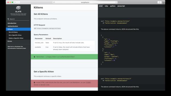 slate — генератор документации для API