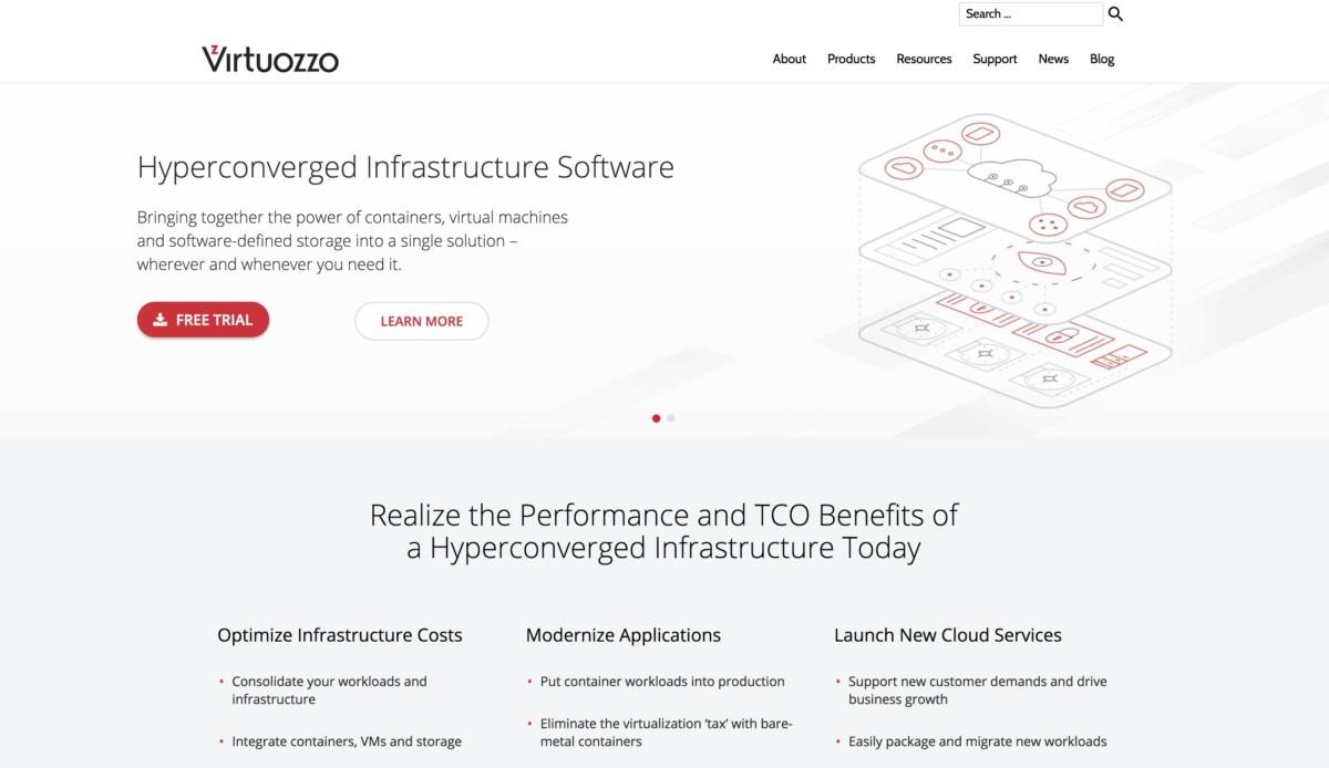 Virtuozzo — использует WordPress для корпоративного сайта