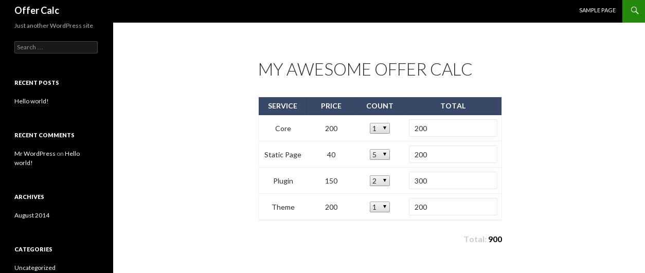 Калькулятор для WordPress (плагин)