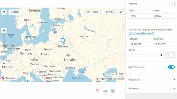 Yandex Maps for Gutenberg